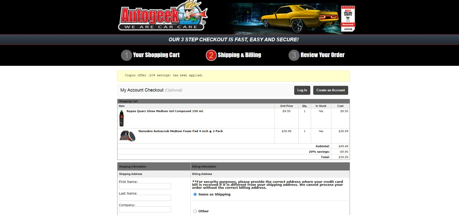 Autogeek coupon code: SEMAPREP20