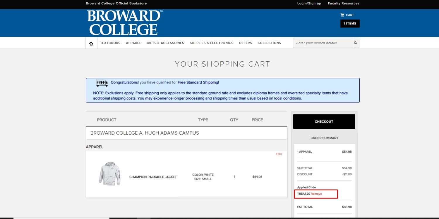 Broward College North Campus  coupon code: TREAT20