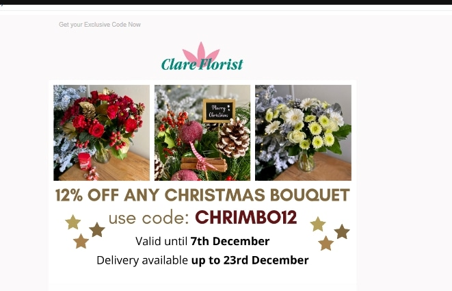 Clare Florist coupon code: CHRIMBO12