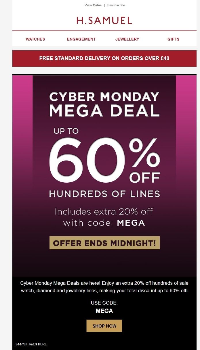 H. Samuel coupon code: MEGA