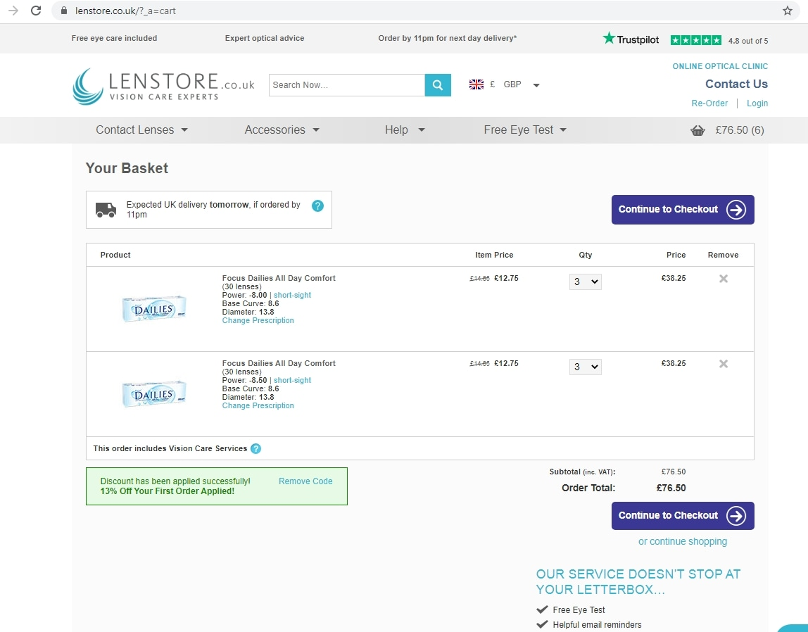 Lenstore coupon code: UNITED13