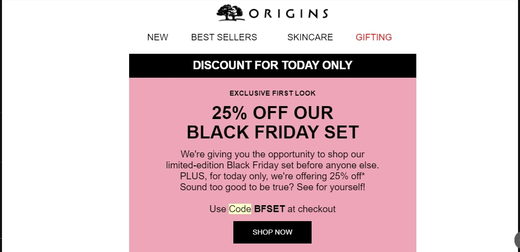 Origins UK coupon code: BFSET