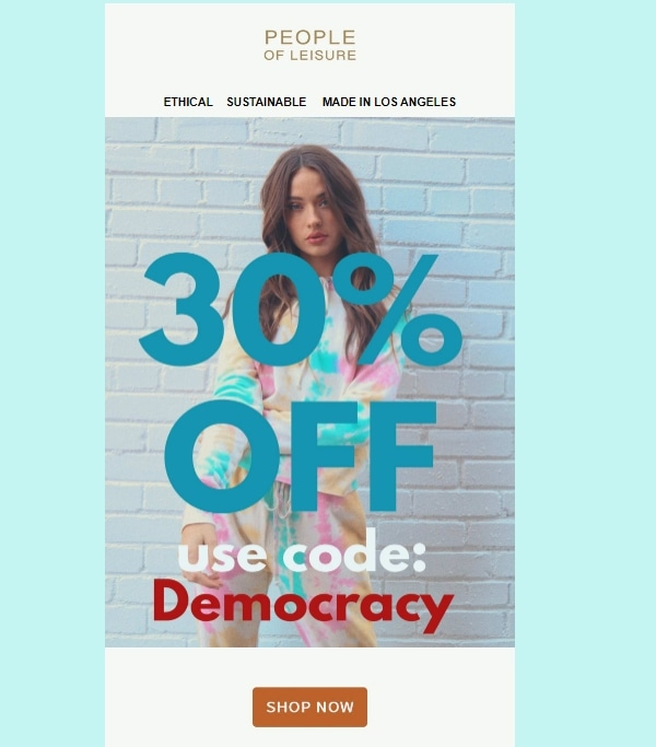 People Of Leisure coupon code: DEMOCRACY
