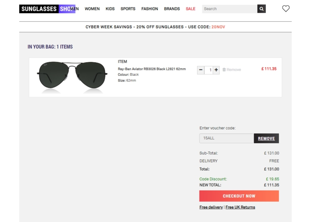 Sunglasses Shop coupon code: 15ALL