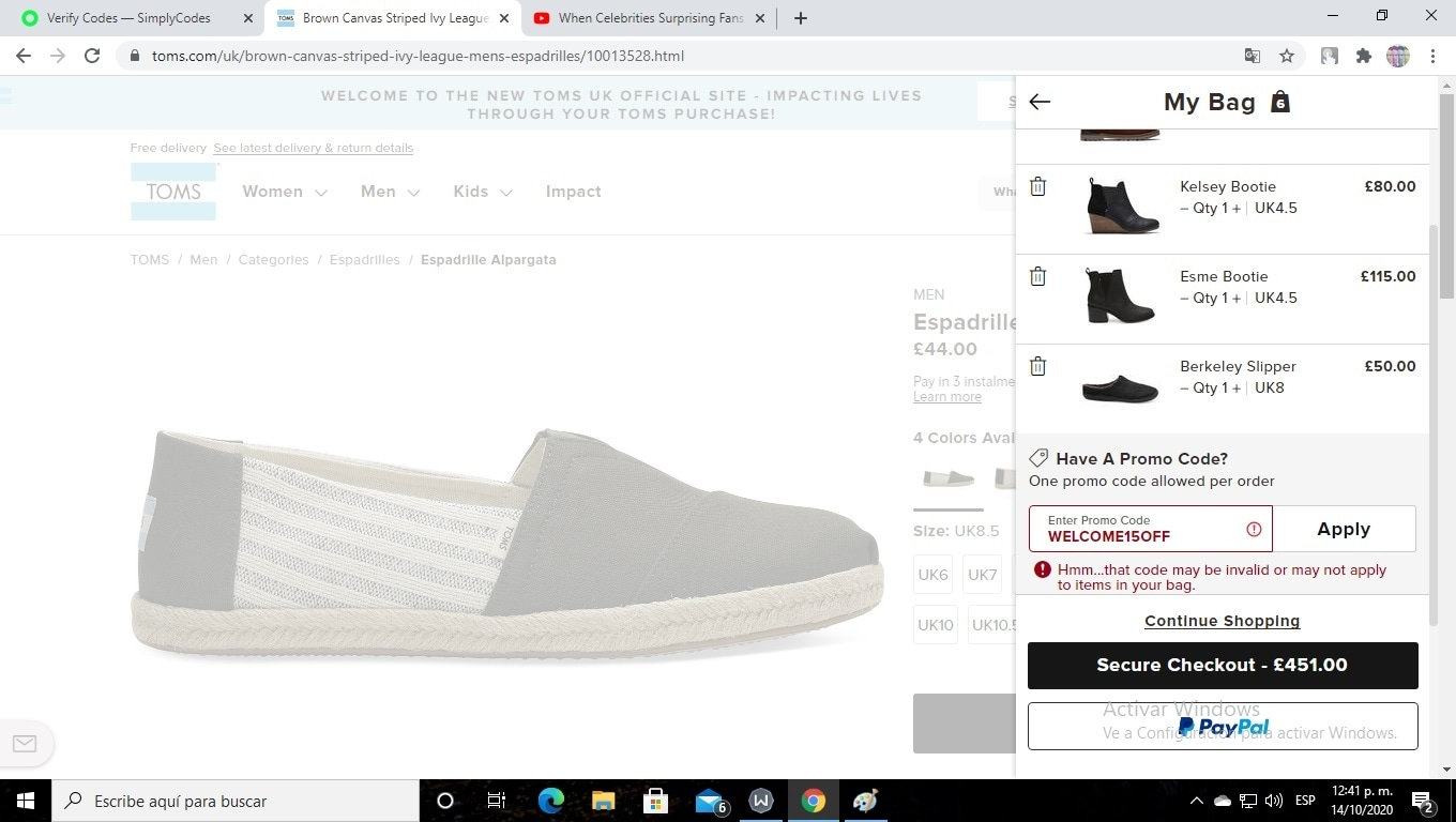 TOMS UK coupon code: WELCOME15OFF